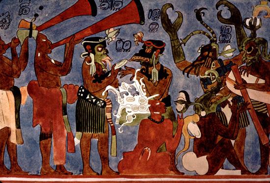 Maya trumpets of bonampak for Bonampak mural painting